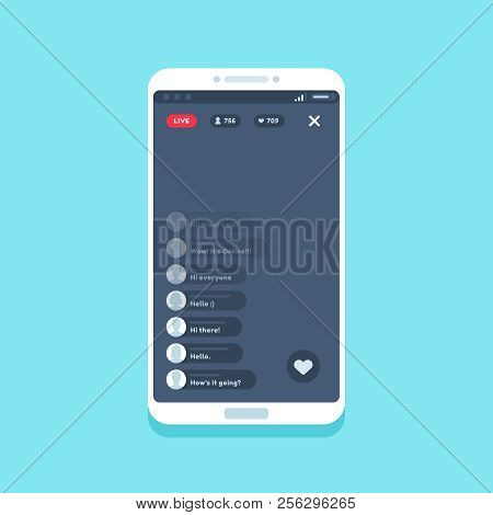 Live Video Stream On Phone. Online Videos Stories Streaming On Smartphone Screen, Chat Comments Livi