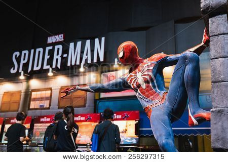 Bangkok, Thailand - Aug 18, 2018: New Spider-man Ps4 Game Event In Playstation Experience Sea (south