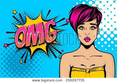 Omg, Oops, Sad Face. Pink Hair Young Girl Pop Art. Woman Pop Art. Comic Text Advertise Speech Bubble
