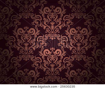Damasco padrão sem emenda em fundo escuro. Poderia ser usado como papel de parede, têxtil, de envolvimento
