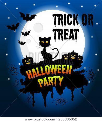 Happy Halloween Vector Poster, Halloween Banner, Halloween Background, Halloween Party, Vector Illus