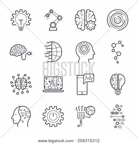 Industry 4.0, Internet Of Things Iot And Artificial Intelligence Ai Icons Set.