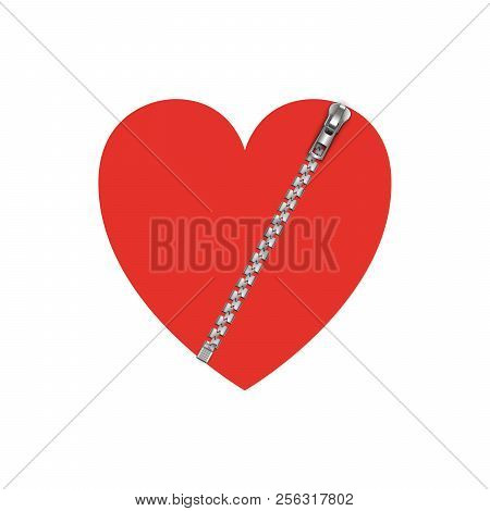 Red Heart With Zipper, Vector Illustration Isolated On White Background.