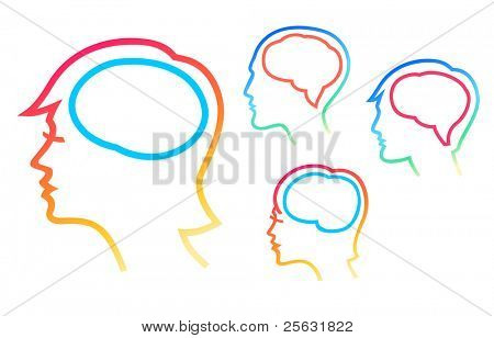 Human head silhouettes with brain outlined