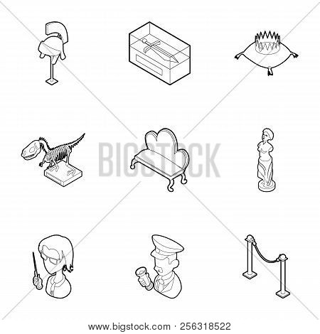 Historical Museum Icons Set. Outline Illustration Of 9 Historical Museum Icons For Web