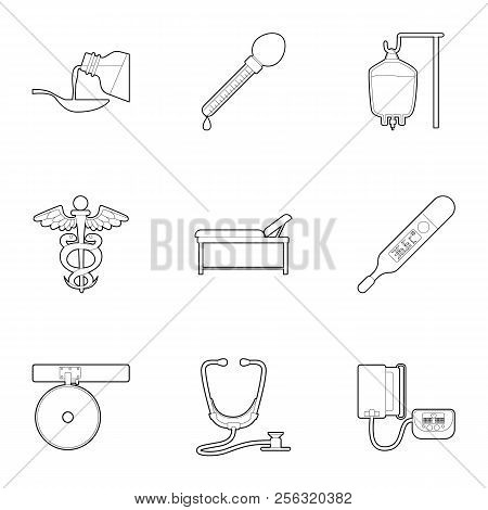 Purpose Of Treatment And Diagnosis Icons Set. Outline Illustration Of 9 Purpose Of Treatment And Dia