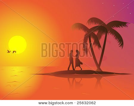 A lonely couple in love on a small island. The sun is down and the mood is romantic. Linear and radial gradients used.