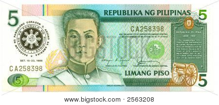 5 Piso Bill Of Philippines, 1986