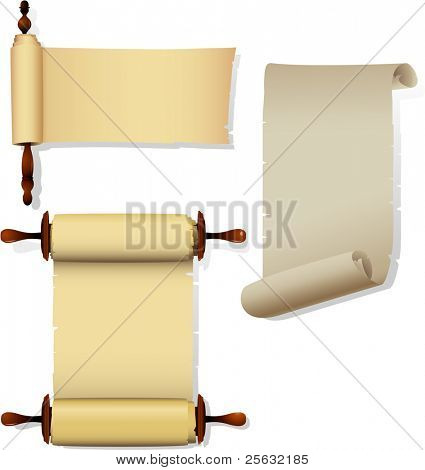 Detailed parchment banners with rolls.