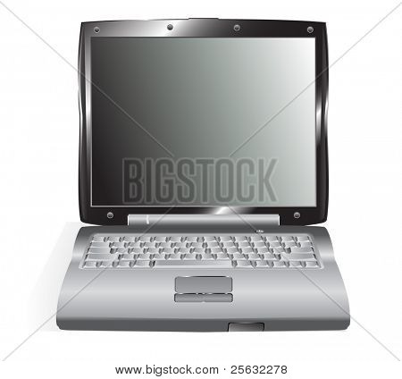 A single, detailed laptop, you can paste your own work on the screen. Linear and radial gradients only.