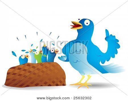 Very talkative blue bird giving a speech to its hungry kids.