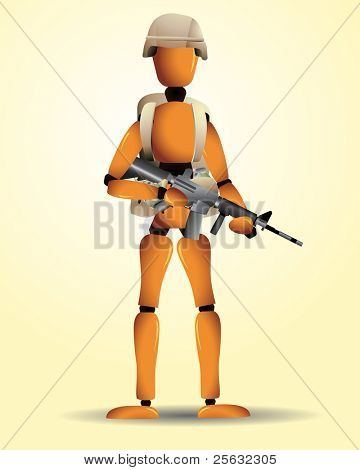 A wooden soldier with different weapons, an helmet and a backpack.