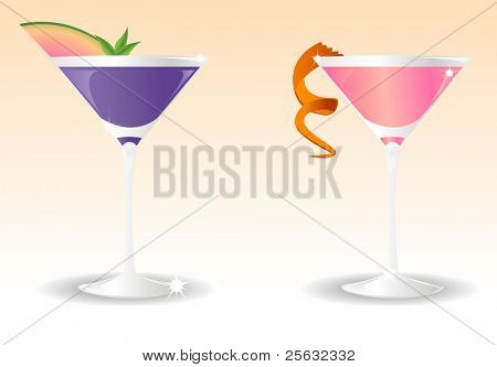 Stylish illustration of two glasses with cocktails pink and blue.