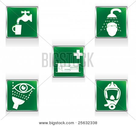 First aid icons representing five situations requiring special care.