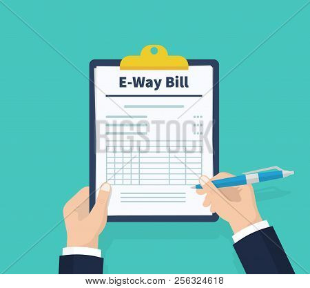 Man Hold Tax Invoice. Checklist. Payment And Invoicing, Business Or Financial Operations Sign. Holdi