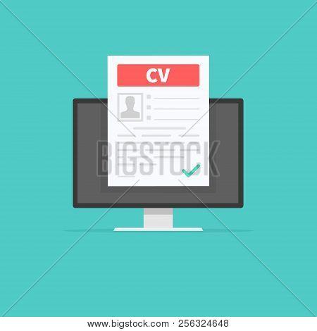 Cv Resume. Job Interview Concept. Employment, Hiring Concepts. Modern Flat Design For Web Banners, W