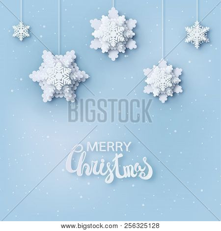 Abstract Christmas Background With Volumetric Paper Snowflakes. White 3d Snowflakes With Shadow. Xma