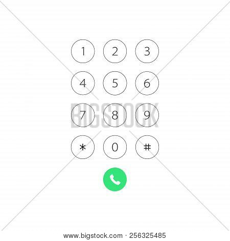 Keypad With Numbers For Phone. User Interface Keypad For Smartphone. Vector Illustration Template.