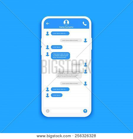 Chat Interface. Sms Messages. Speech Bubbles. Short Message Service Bubbles. Flat Interface Vector I