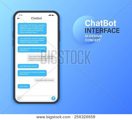 Chatbot Mobile Ui Design Concept. Sms Messenger. Online Conversation With Texting Message. Vector Il