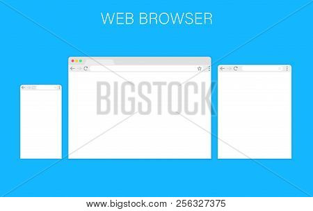 Browser Window.web Browser In Flat Style. Window Concept Internet Browser. Mockup Screen Design. Vec
