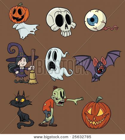 Cartoon Halloween elements. All in separate layers for easy editing.