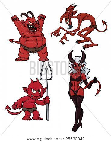 Four cartoon demons. All in separate layers for easy editing.