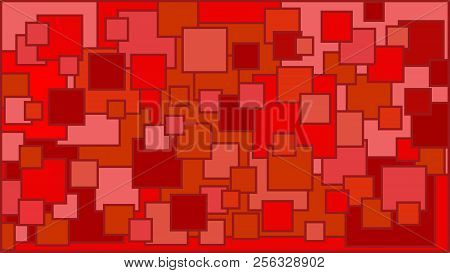 Squares In Various Shades Of Red Background - Illustration,  Illustration With Squares,  Red Squares