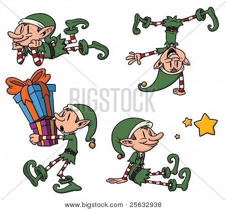 Cute cartoon Christmas elves. All in separate layers for easy editing.