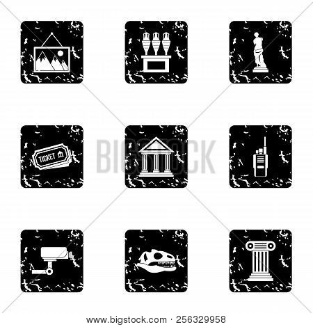 Historical Museum Icons Set. Grunge Illustration Of 9 Historical Museum Icons For Web