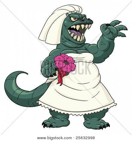 Furious Bridezilla roaring.