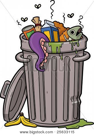 Vector illustration of a cartoon trash can.