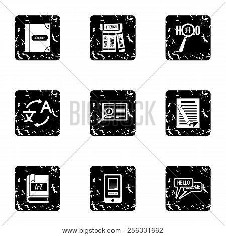 Foreign Language Icons Set. Grunge Illustration Of 9 Foreign Language Icons For Web
