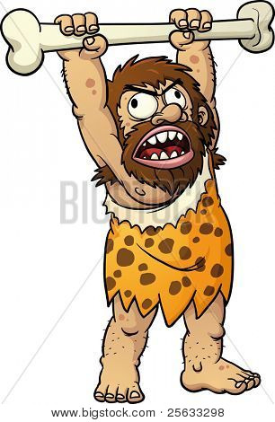Angry cartoon caveman yelling and holding big bone. Vector illustration with simple gradients. All in a single layer.