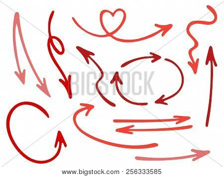 Hand Drawn Diagram Arrow Icons Vector Set. Up Down Pencil Sketch Arrows, Right And Left Side Pointer