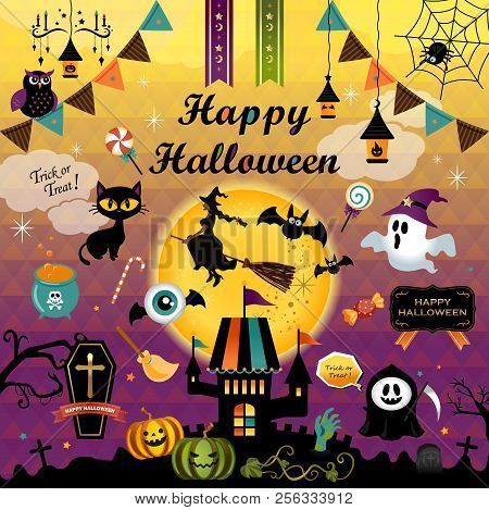 Happy Halloween Design Elements Set. Halloween Design Icons, Elements, And Objects. Vector Illustrat