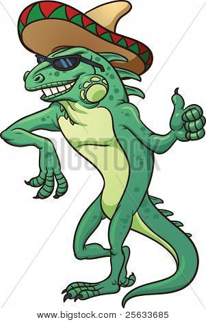 Cool cartoon iguana wearing a sombrero. Vector illustration with simple gradients.