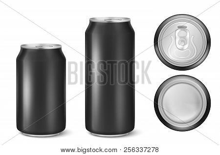 Vector Realistic 3d Black Empty Glossy Metal Black Aluminium Beer Pack Or Can Visual 330ml 500ml. Ca