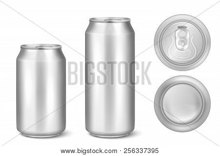 Vector Realistic 3d Silver Empty Glossy Metal Black Aluminium Beer Pack Or Can Visual 330ml 500ml. C