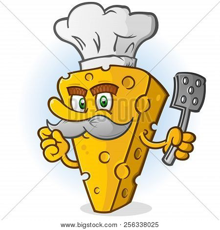 Cheese Chef Cartoon Character With Mustache Holding A Spatula