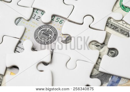 Fed Strategy Of Interest Rate Hike, United States Of America Financial Or Economics Concept, Jigsaw