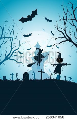 Halloween Party Poster With Whitch. Holiday Card With Cemetery And Scarecrow And A Haunted House In