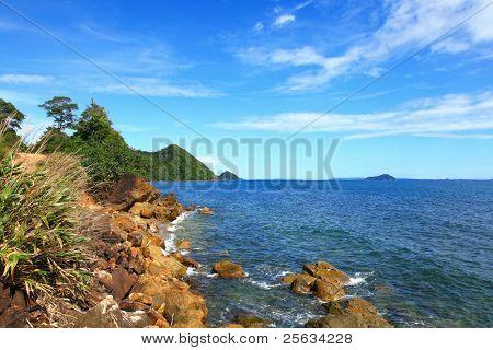 Rocky Coastal Area near islands in Trad province, Thailand