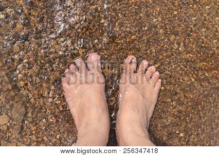 Health care, foot by foot soaking in mineral water, sprinkled with gravel at the bottom. poster