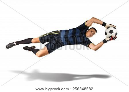 Goakeeper Cathing The Ball In The Air Isolated