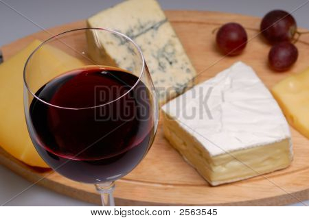 Glass Of Wine And Cheese