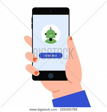 Hand With The Smart Phone And Chat Bot On The Screen. The Chat Bot Vector Design Illustration. Moder