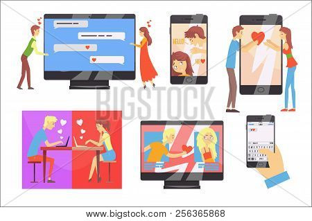 Acquaintance Through The Social Network, Distance Relationship, Online Dating Set Of Vector Illustra