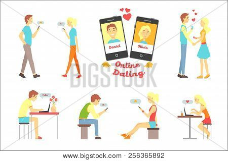 Online Dating App, People Finding Love Using Dating Websites And App On Smartphones And Computers Se