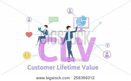 Clv, Customer Lifetime Value. Concept Table With Keywords, Letters And Icons. Colored Flat Vector Il